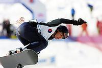 Snøbrett, NM halfpipe, Kongsberg skisenter 24. mars 2001.. Stine Brun Kjeldaas, fra Kongsberg og Norge.