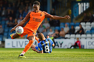 Southend United forward Shawn McCoulsky (28) has a shot during the EFL Sky Bet League 1 match between Gillingham and Southend United at the MEMS Priestfield Stadium, Gillingham, England on 13 October 2018.