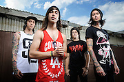 Pierce The Veil photographed backstage on Warped Tour at Verizon Wireless Amphitheater in St. Louis on July 5, 2010