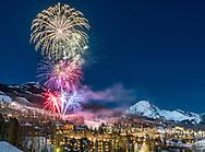 New Year's Eve fireworks in Snowmass Village, Colorado. Northwest Region, winter