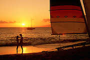 Couple on Beach, Sunset, Kaanapali, Maui, Hawaii<br />