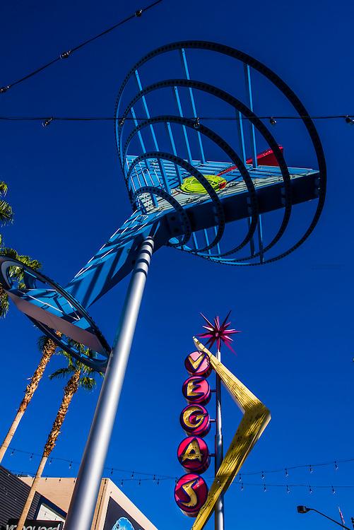 Martini glass and Vegas neon signs, Freemont Strreet, Downtown Las Vegas, Nevada USA.