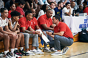 NORTH AUGUSTA, SC. July 10, 2019. Team WhyNot coaches at Nike Peach Jam in North Augusta, SC. <br /> NOTE TO USER: Mandatory Copyright Notice: Photo by Jon Lopez / Nike