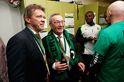 March 10, 2018 - Brugge, BELGIUM - Cercle's head coach Frank Vercauteren and Cercle's chairman Frans Schotte celebrate after winning a soccer game between Cercle Brugge and KFCO Beerschot Wilrijk, in Brugge, Saturday 10 March 2018, the return leg match of the division 1B Proximus League competition final of the Belgian soccer championship. Cercle won 3-1 and will play next season in the first division Jupiler Pro League competition...BELGA PHOTO KURT DESPLENTER (Credit Image: © Kurt Desplenter/Belga via ZUMA Press)