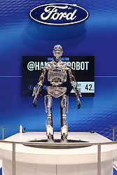 09 February 2017:  Ford Hank the Robot <br /> <br /> First staged in 1901, the Chicago Auto Show is the largest auto show in North America and has been held more times than any other auto exposition on the continent.  It has been  presented by the Chicago Automobile Trade Association (CATA) since 1935.  It is held at McCormick Place, Chicago Illinois<br /> #CAS17