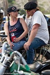 Lee Ann and Jason Simms at Warren Lane's True Grit Antique Gathering bike show at the Broken Spoke Saloon in Ormond Beach during Daytona Beach Bike Week, FL. USA. Sunday, March 10, 2019. Photography ©2019 Michael Lichter.