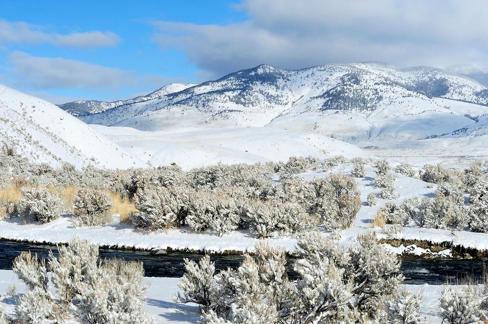 Gardner River Valley with fresh snow, Yellowstone NP, Montana, USA