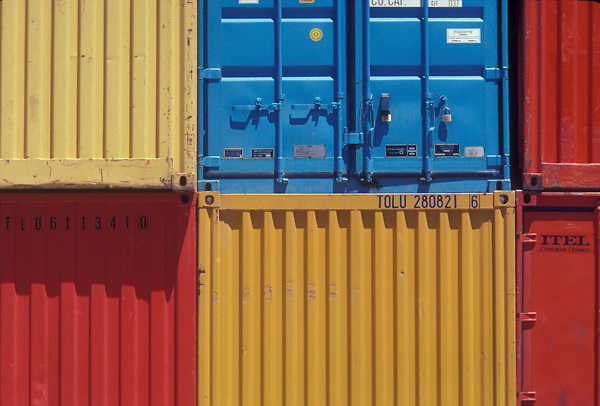 Close up of stacked shipping containers at the Port of Houston