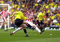 Copyright Sportsbeat. 0208 3926656<br />Picture: Henry Browne<br />Date: 13/04/2003<br />Watford v Southampton FA Cup Semi Final<br />Matthew Oakley of Southampton tries to block a clearance from Watford's Neal Ardley