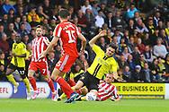Burton Albion midfielder Scott Fraser (7) is fouled during the EFL Sky Bet League 1 match between Burton Albion and Sunderland at the Pirelli Stadium, Burton upon Trent, England on 15 September 2018.