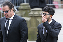 © Licensed to London News Pictures . 18/03/2016 . Manchester , UK . Jimmi Harkishin and Qasim Akhtar arrive at the service. Television stars and members of the public attend the funeral of Coronation Street creator Tony Warren at Manchester Cathedral . Photo credit : Joel Goodman/LNP