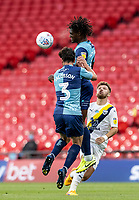 Wycombe Wanderers' Anthony Stewart heads clear <br /> <br /> Photographer Andrew Kearns/CameraSport<br /> <br /> Sky Bet League One Play Off Final - Oxford United v Wycombe Wanderers - Monday July 13th 2020 - Wembley Stadium - London<br /> <br /> World Copyright © 2020 CameraSport. All rights reserved. 43 Linden Ave. Countesthorpe. Leicester. England. LE8 5PG - Tel: +44 (0) 116 277 4147 - admin@camerasport.com - www.camerasport.com