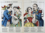 Departure of the Conscript. The Return.  19th French popular hand-coloured woodcut.