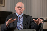 17 DEC 2019, BERLIN/GERMANY:<br /> Norbert Lammert, CDU, Vorsitzender der Konrad-Adenauer-Stiftung, KAS, waehrend einem Interview, in seinem Buero, Konrad-Adenauer-Stiftung<br /> IMAGE: 20191217-02-005<br /> KEYWORDS: Büro