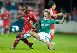 Grenchen, Switzerland - Tuesday, July 17, 2007: Liverpool's Ryan Babel in action against SV Werder Bremen's Peter Niemeyer during a pre-season friendly at Stadion Bruhl. (Photo by David Rawcliffe/Propaganda)
