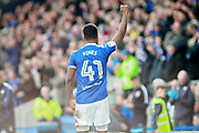 Chesterfield midfielder Zavon Hines (41) salutes the crowd after his goal during the EFL Sky Bet League 2 match between Chesterfield and Notts County at the Proact stadium, Chesterfield, England on 25 March 2018. Picture by Nigel Cole.