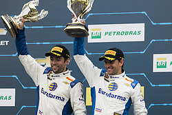 March 10, 2018 - Sao Paulo, Brazil - DANIEL SERRA and JOAO PAULO OLIVEIRA of the team EUROFARMA-RC, winners of the race Stock Car doubles stage, opening the 2018 season of the competition at the Autodromo de Interlagos. (Credit Image: © Marcelo Chello via ZUMA Wire)