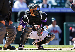 April 8, 2018 - Denver, CO, U.S. - DENVER, CO - APRIL 08: Colorado Rockies catcher Chris Iannetta (22) during a regular season MLB game between the Colorado Rockies and the visiting Atlanta Braves on April 8, 2018 at Coors Field in Denver, CO. (Photo by Russell Lansford/Icon Sportswire) (Credit Image: © Russell Lansford/Icon SMI via ZUMA Press)