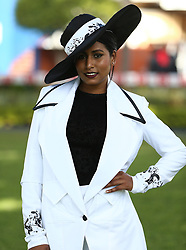 Durban. 070718. Fashion Theme for the 2018 Vodacom Durban July. - It Is Time - Every year a new theme is released to get the creative juices of the visitors and fashion desighners flowing. Picture Leon Lestrade. African News Agency/ANA. Tracy Konar dressed by Agnes Yowa Batubenga.