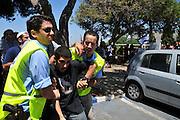Israel, Haifa University a Pro Palestinian demonstration. Demonstrator is arrested by Israeli police