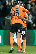 GOAL 2-1 Barnet forward Shaquile Coulthirst (10) scores and celebrates with Barnet midfielder Dan Sweeney (26) during The FA Cup fourth round match between Barnet and Brentford at The Hive Stadium, London, England on 28 January 2019.