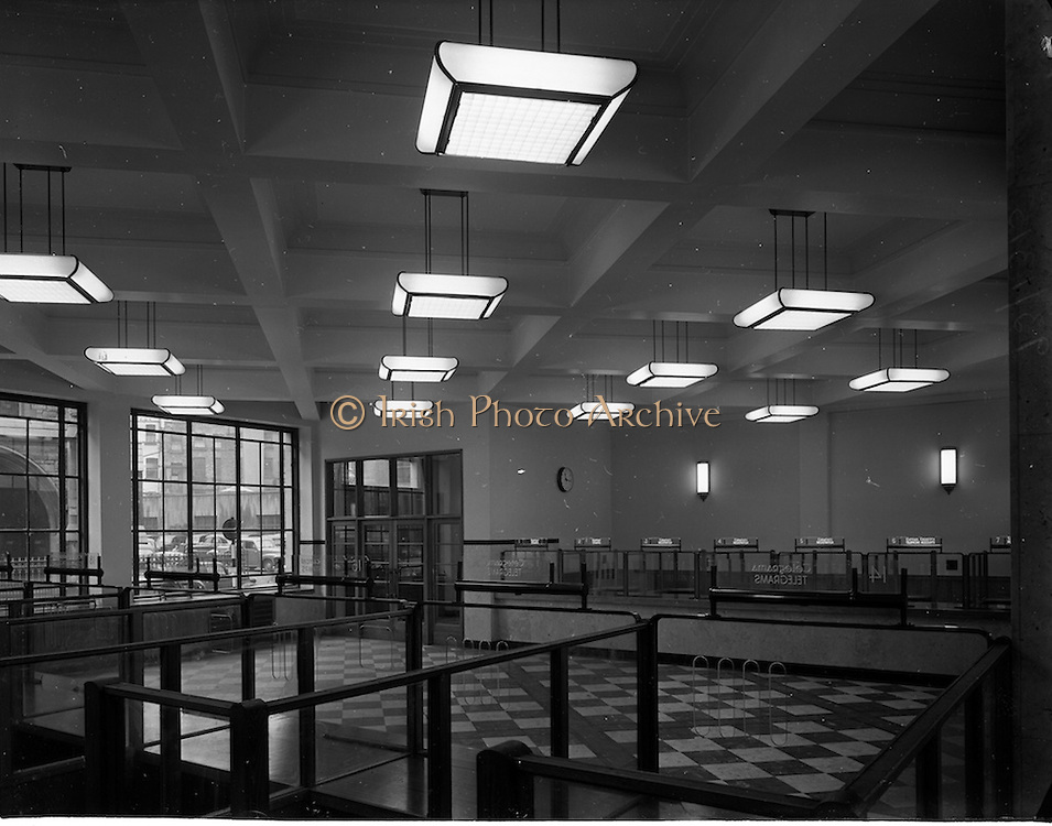 29/11/1952<br /> 11/29/1952<br /> 29 November 1952<br /> Interior of St Andrews Street new Post Office prior to opening, Dublin. Lighting pictured for Brownlee Bros.