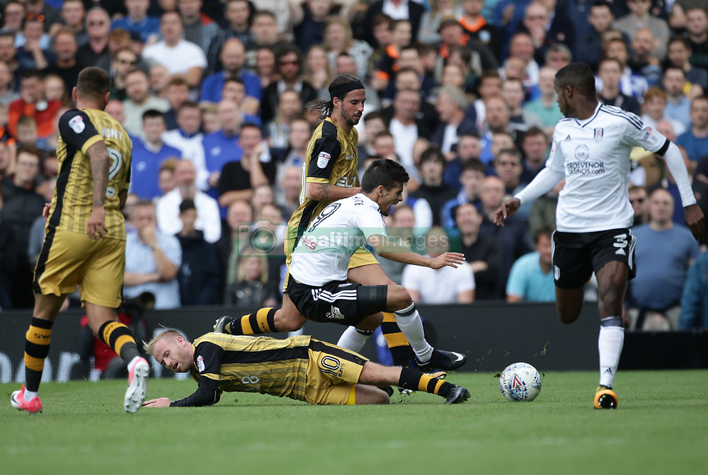 Fulham's Rui Fonte (top) is tackled by Sheffield Wednesday's Barry Bannan