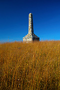Kansas / Morris County / Council Grove / Flint Hills / Monument To The Unknown Kanza Warrior / Built In<br /> 1925 / Burial Ground / Kaw Native Americans / Kaw Nation / Kansas Named For The Kanza / Tallgrass Prairie/   Limestone Tower