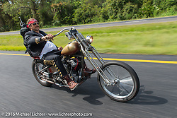 Sean Duggan riding his 1936 Harley-Davidson Knucklehead during Stage 1 of the Motorcycle Cannonball Cross-Country Endurance Run, which on this day ran from Daytona Beach to Lake City, FL., USA. Friday, September 5, 2014.  Photography ©2014 Michael Lichter.