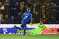 Wimbledon midfielder Scott Wagstaff (7) scores a goal (2-0) during the The FA Cup fourth round match between AFC Wimbledon and West Ham United at the Cherry Red Records Stadium, Kingston, England on 26 January 2019.