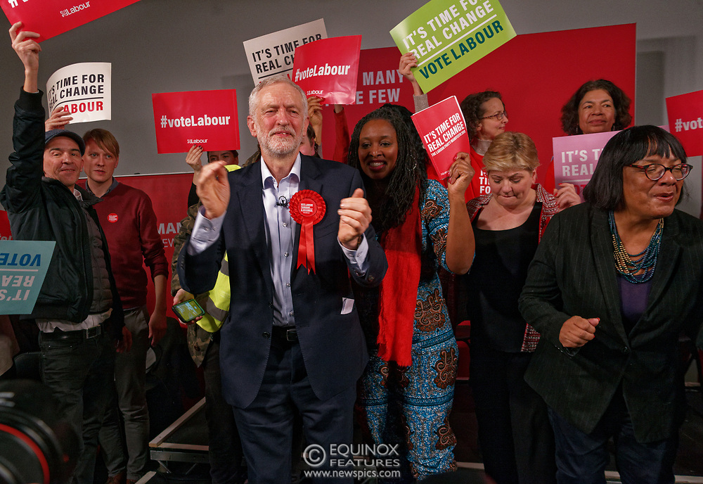 London, United Kingdom - 11 December 2019<br /> Labour Party leader Jeremy Corbyn speaking at their final campaign rally before the General Election 2019 at Hoxton Docks, London, England, UK.<br /> (photo by: EQUINOXFEATURES.COM)<br /> Picture Data:<br /> Photographer: Equinox Features<br /> Copyright: ©2019 Equinox Licensing Ltd. +443700 780000<br /> Contact: Equinox Features<br /> Date Taken: 20191211<br /> Time Taken: 21560474<br /> www.newspics.com