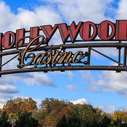 Charles Town, WV / USA - November 3, 2018: Entrance sign at the Hollywood Casino Charles Town Races complex.