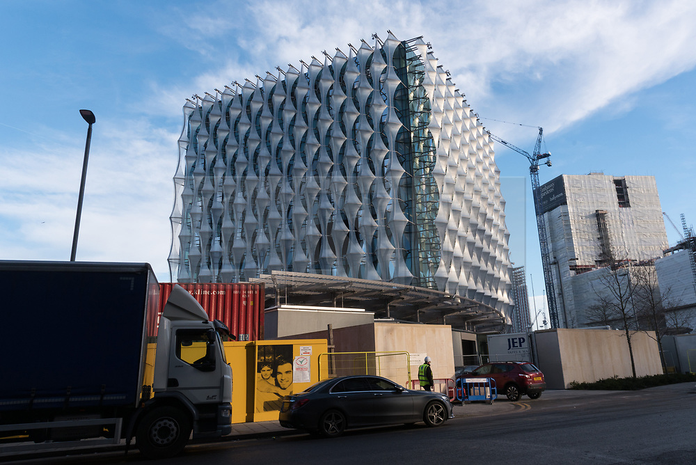 © Licensed to London News Pictures. 19/12/2017. London, UK. Exterior view of the new United States Embassy in Wandsworth, South London. At a cost of over £750 million, the new embassy is the most expensive in the world and features a security moat and gardens on each floor. It is reported the US President Donald Trump will officially open the embassy in early 2018. Photo credit: Ray Tang/LNP