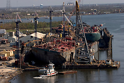 08 Sept 2005. New Orleans, Louisiana. Hurricane Katrina aftermath.<br /> The port of New Orleans sustained major damage due to the storm with potentially massive repercussions for the USA and the rest of the world.<br /> Photo; ©Charlie Varley/varleypix.com