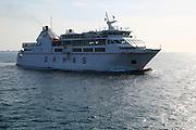 Armas ferry ship 'Volcan de Tindaya' arriving Corralejo, Fuerteventura, Canary Islands, Spain