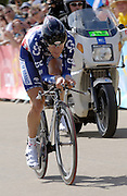 London 7th July 2007: CSC's Dave Zabriskie (#039) finished 11th overall at +32 seconds in the opening prologue of the 2007 Tour de France cycling race.