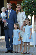 Doop Willem Jan ( 01-07-2013), zoon van Prins Floris en Prinses Aimee oppaleis het Loo<br /> <br /> Christening of Willem Jan ( 01-07-2013), son of Prince Floris and Princess Aimee on palace het Loo<br /> <br /> Op de foto / On the photo: Prins Floris en Prinses Aimee, met dochters Magali en Eliane en hun zoon Willem Jan /  Prince Floris and Princess Aimee, with daughters Magali and Eliane and their son Willem Jan