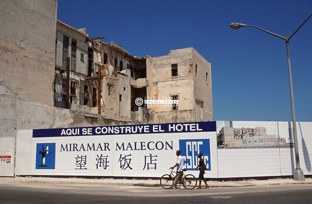 Building site on the corner of Paseo and Malecon in Havana; Cuba; where the Chinese government in conjunction with the Cuban authorities are constructing a new hotel,