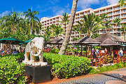 Elephant statue and poolside bar at the Kauai Marriott Resort, Island of Kauai, Hawaii