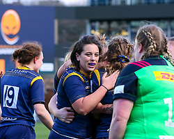 Sioned Harries of Worcester Warriors Women celebrates a try by Cara Brincat - Mandatory by-line: Nick Browning/JMP - 20/12/2020 - RUGBY - Sixways Stadium - Worcester, England - Worcester Warriors Women v Harlequins Women - Allianz Premier 15s