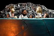 Single- en cliprelease en presentatie van Watskeburt?! – De Musical  in de repetitiestudio van Orkater in Amsterdam<br /> <br /> Op de foto:  Poppen van de De Jeugd van Tegenwoordig - Vjeze Fur, Faberyayo, Willie Wartaal en Bas Bron gespeeld door Cripta Scheepers, Anna Keuning, Rein Hofman, Bradley Groffen, Kiefer Zwart en Sebas Berman
