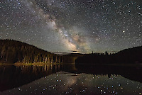 The milky way galaxy is reflected in the calm waters of Sibley Lake. Here in the Bighorn Mountains there wasn't even a hint of light pollution and the stars were very clear.