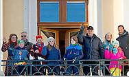 17 -1 2016 OSLO prince sverre magnus Ingrid Alexandra Royal Family in attendance in Palace Square to watch the activities.<br />  King Harald and Queen Sonja and crown princess mette marit and crown prince haakon , Princess Martha and Ari Behn at the palace in Oslo NORWAY 25th anniversary: Ascension to the Norwegian throne of Their Majesties King Harald and Queen Sonja<br /> COPYRIGHT ROBIN UTRECHT<br /> 17 -1 2016 OSLO koning Harald en koningin Sonja en kroonprinses Mette Marit en kroonprins Haakon, prinses Martha en Ari Behn in het paleis in Oslo Noorwegen 25ste verjaardag: Ascension aan de Noorse troon van Hunne Majesteiten Koning Harald en koningin Sonja viering voor 25 jaar als koning  en koningin Zaterdag was er in Oslo al een feestelijk middagmaal waaraan behalve de Noorse koninklijke familie ook veel buitenlandse gasten aanzaten. De zondag staat 's ochtends vooral in het teken van een ontmoeting met de Noorse bevolking op het plein voor het paleis. Op dat plein zijn allerlei festiviteiten georganiseerd. 's Middags is er een groot feest in de aula van de universiteit.