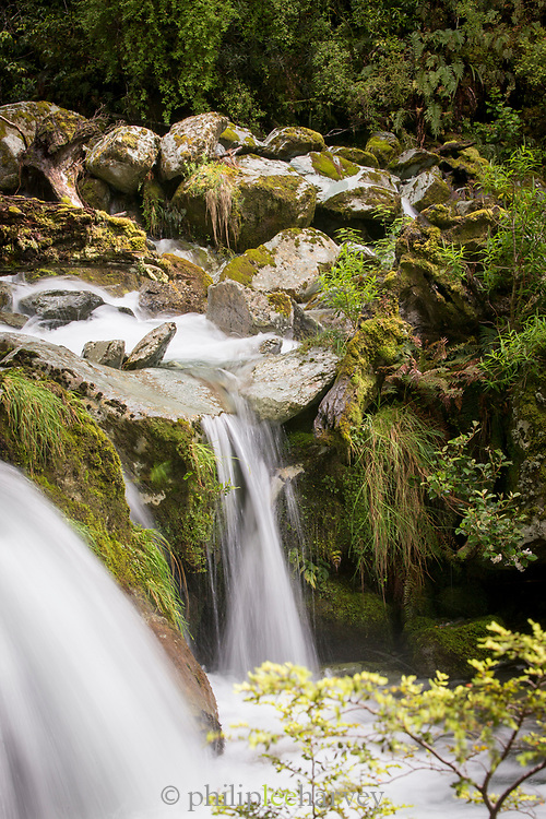 View of a small waterfall in a natural setting, Routeburn Track, South Island, New Zealand