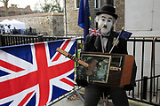 Charlie Chaplin at the anti Brexit pro Europe demonstration in Westminster on 27th March 2019 in London, England, United Kingdom. With the date of the UK leaving the European Union extended, the pro EU protest continues as MPs from all sides try to gain control of the process, as they debate the various options in the commons.