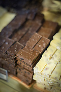 Close-up of different chocolate bars in Chocolate shop in Bariloche, Argentina