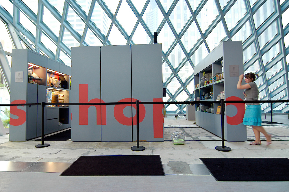 Workers closing up shop at the Seattle Library.