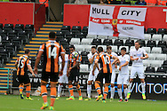 Shaun Maloney of Hull city (15) sees his free kick blocked by the Swansea city wall. Premier league match, Swansea city v Hull city at the Liberty Stadium in Swansea, South Wales on Saturday 20th August 2016.<br /> pic by Andrew Orchard, Andrew Orchard sports photography.