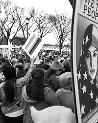 We The People Poster by Shepard Fairey were published in the Washington Post as full page ads so anyone could carry a poster at Women's March on Washington, D.C.