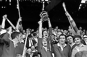 06/09/1970<br /> 09/06/1970<br /> 6 September 1970<br /> All-Ireland Senior Hurling Final: Cork v Wexford at Croke Park, Dublin. <br /> <br /> The Cork Captain, Paddy Barry, raising the cup in celebration.
